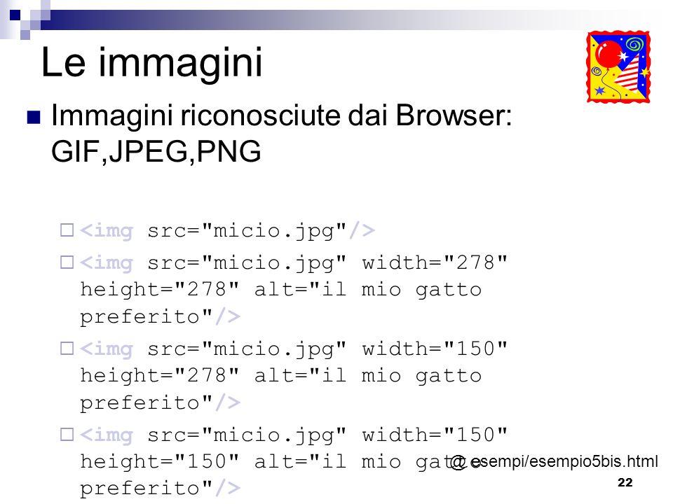 22 Le immagini Immagini riconosciute dai Browser: GIF,JPEG,PNG @ esempi/esempio5bis.html