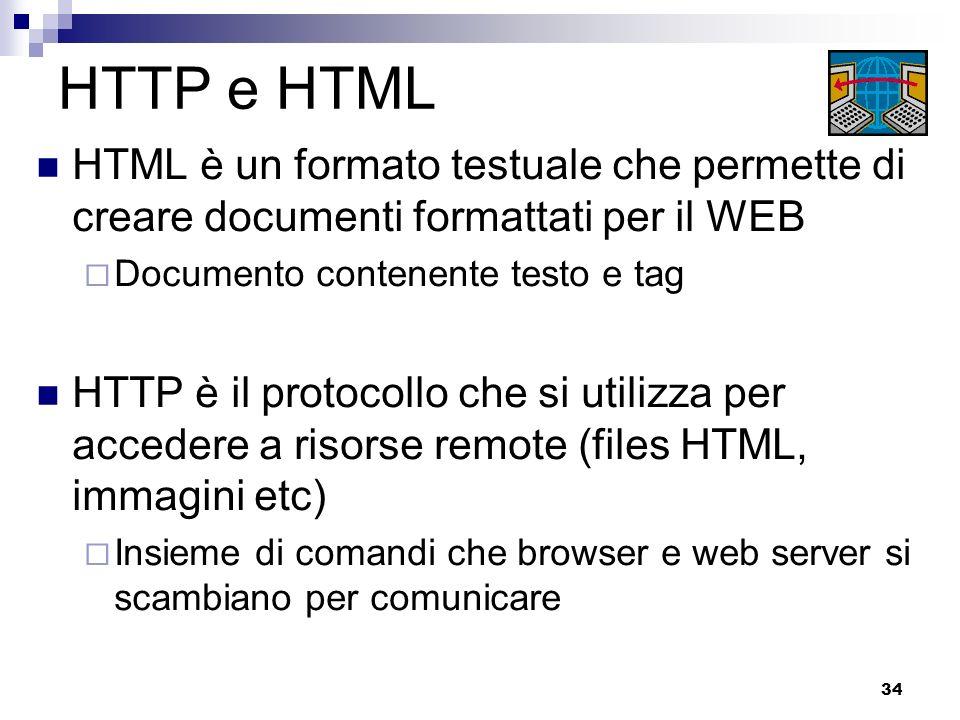 34 HTTP e HTML HTML è un formato testuale che permette di creare documenti formattati per il WEB Documento contenente testo e tag HTTP è il protocollo