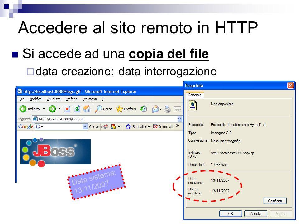 37 Accedere al sito remoto in HTTP Si accede ad una copia del file data creazione: data interrogazione Data sistema: 13/11/2007