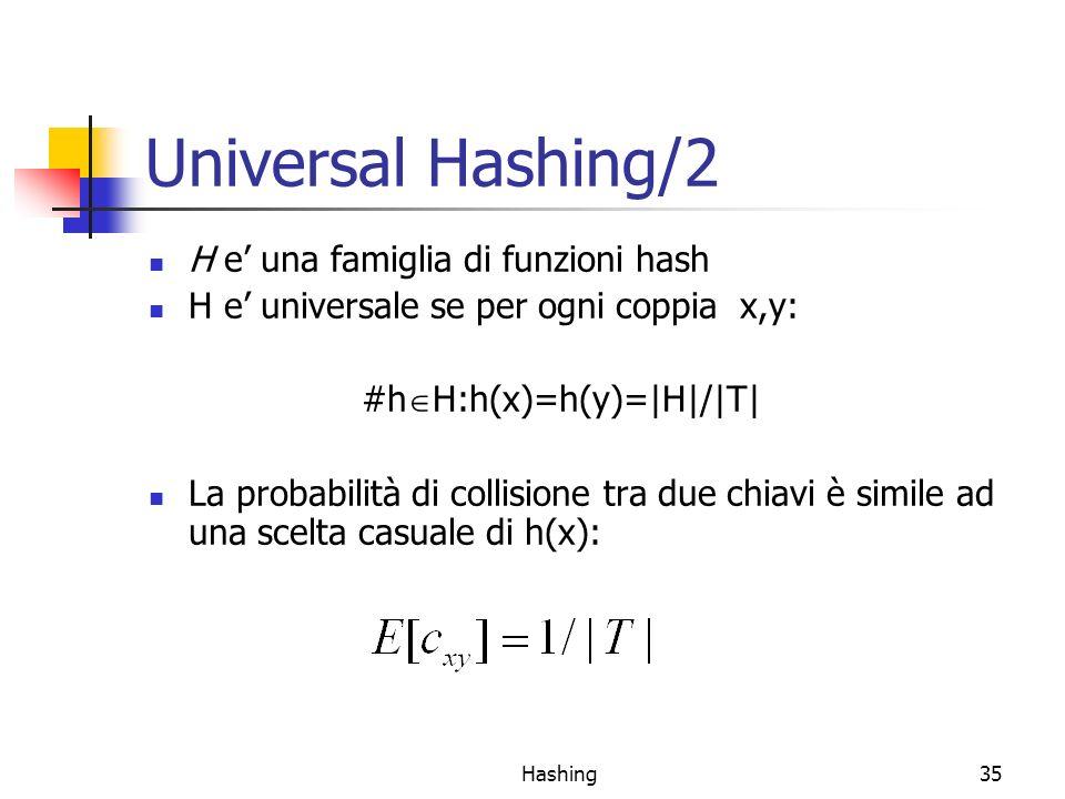 Hashing35 Universal Hashing/2 H e una famiglia di funzioni hash H e universale se per ogni coppia x,y: #h H:h(x)=h(y)=|H|/|T| La probabilità di collis