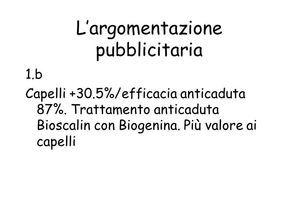 Largomentazione pubblicitaria 1.b Capelli +30.5%/efficacia anticaduta 87%. Trattamento anticaduta Bioscalin con Biogenina. Più valore ai capelli