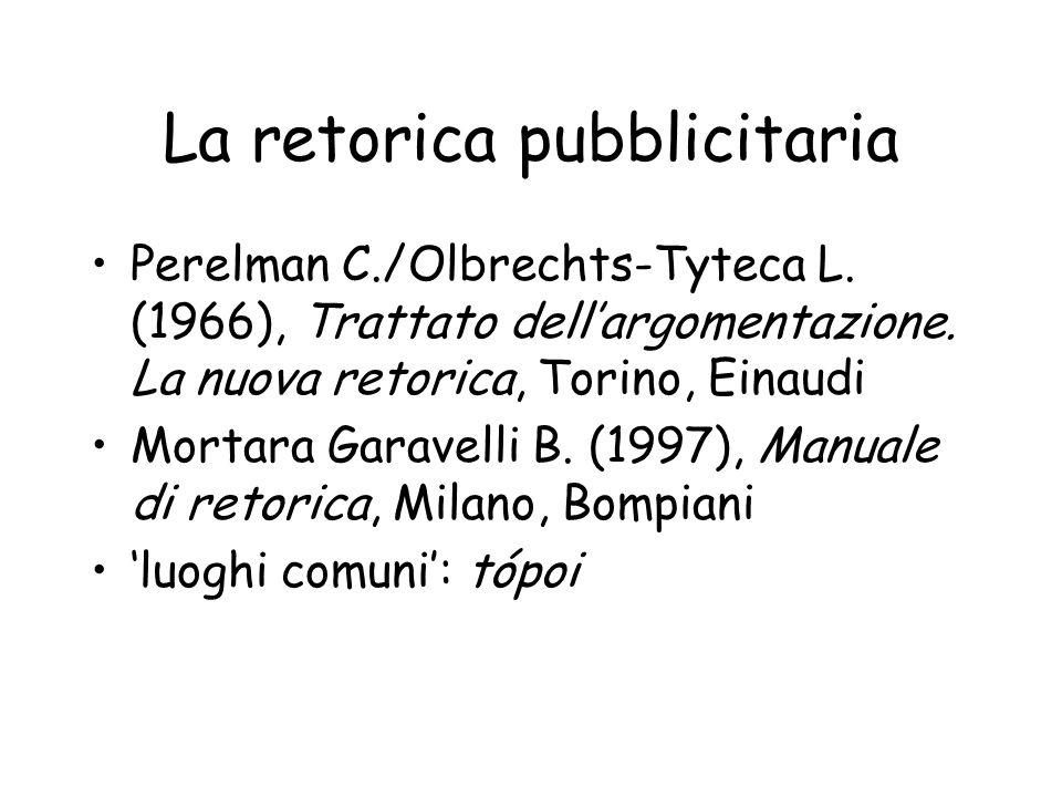La retorica pubblicitaria Perelman C./Olbrechts-Tyteca L. (1966), Trattato dellargomentazione. La nuova retorica, Torino, Einaudi Mortara Garavelli B.