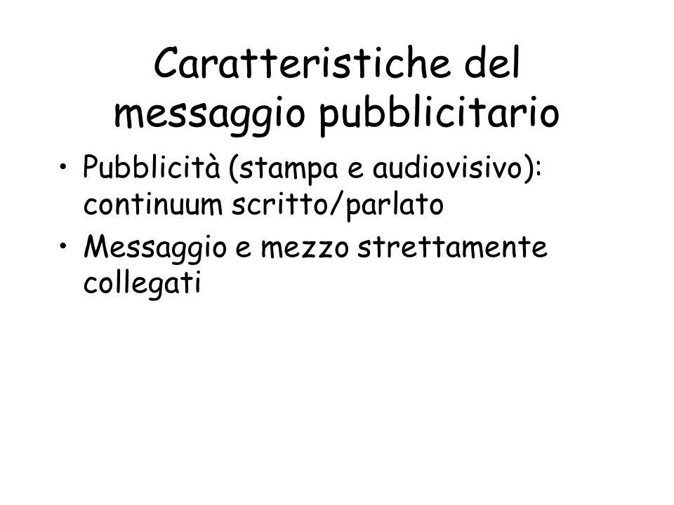 Il messaggio pubblicitario a stampa Vincolo spaziale -Il testo visivo (immagini statiche) -L headline, o titolo (messaggio principale) -La bodycopy, o testo (il messaggio viene chiarito) -La baseline, o pay-off (frase conclusiva e riassuntiva) -Il claim (promessa) -Il logotipo (marchio e nome dellazienda che firma la campagna)