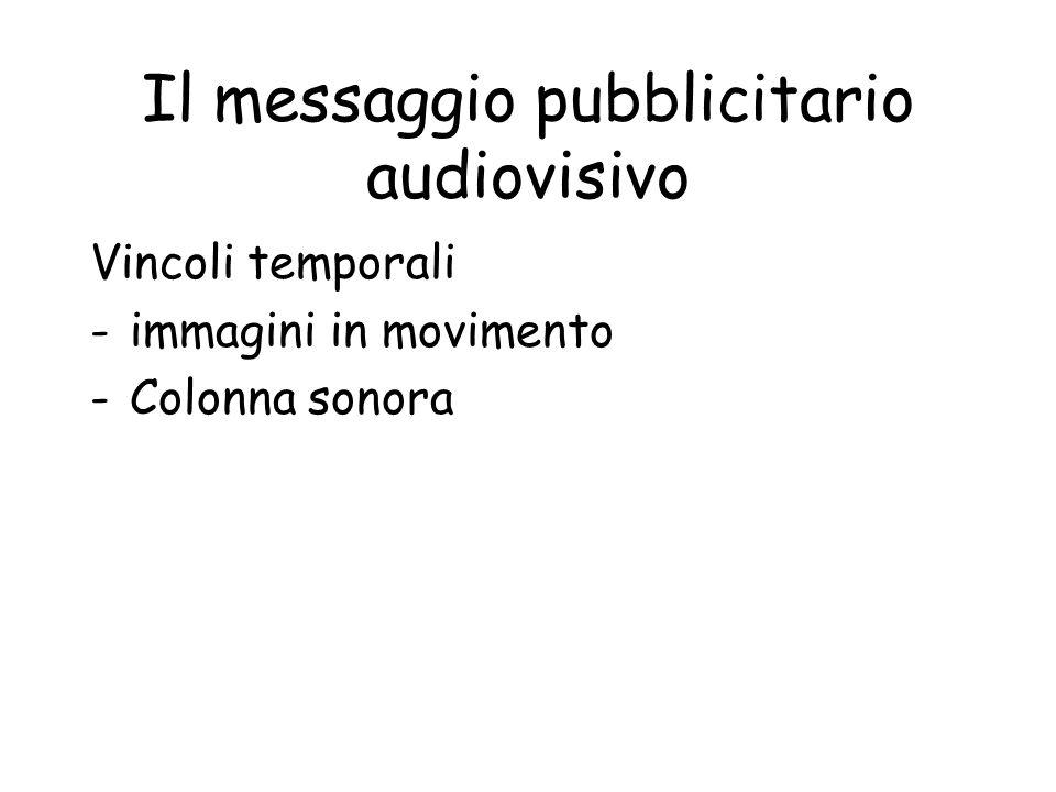Il messaggio pubblicitario audiovisivo Vincoli temporali -immagini in movimento -Colonna sonora