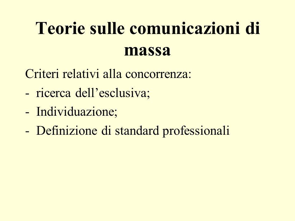 Teorie sulle comunicazioni di massa Criteri relativi alla concorrenza: -ricerca dellesclusiva; -Individuazione; -Definizione di standard professionali