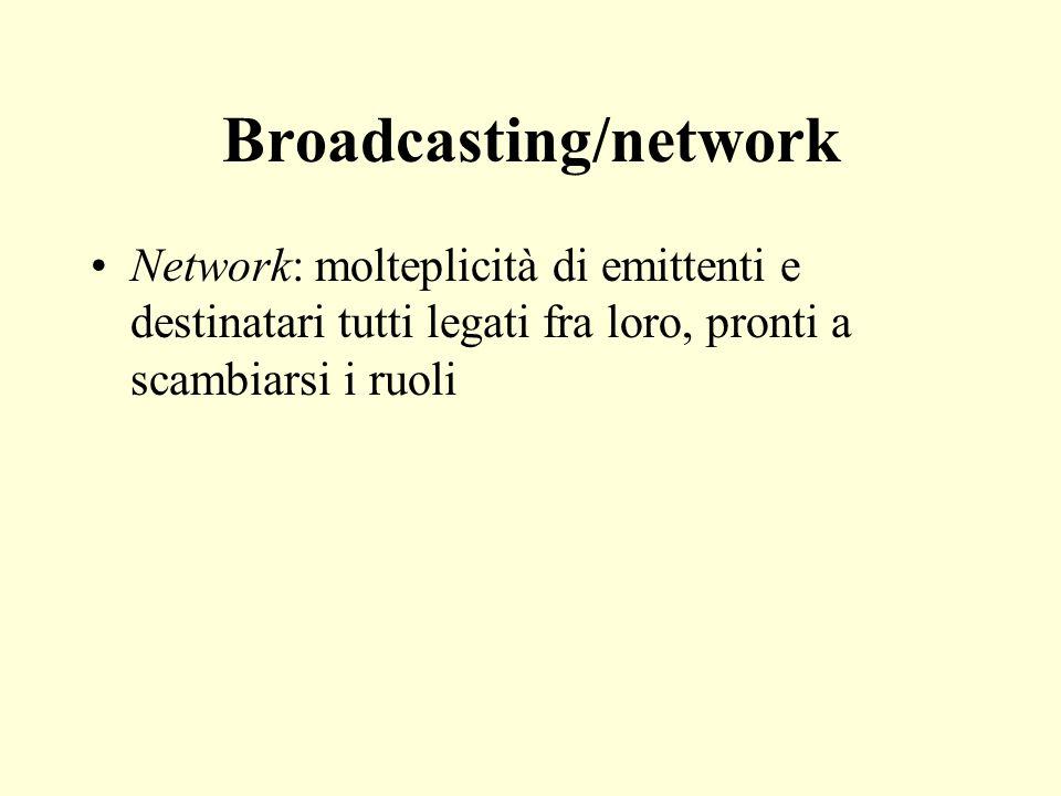 Broadcasting/network Network: molteplicità di emittenti e destinatari tutti legati fra loro, pronti a scambiarsi i ruoli