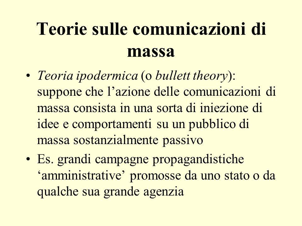 Teorie sulle comunicazioni di massa Teoria ipodermica (o bullett theory): suppone che lazione delle comunicazioni di massa consista in una sorta di iniezione di idee e comportamenti su un pubblico di massa sostanzialmente passivo Es.