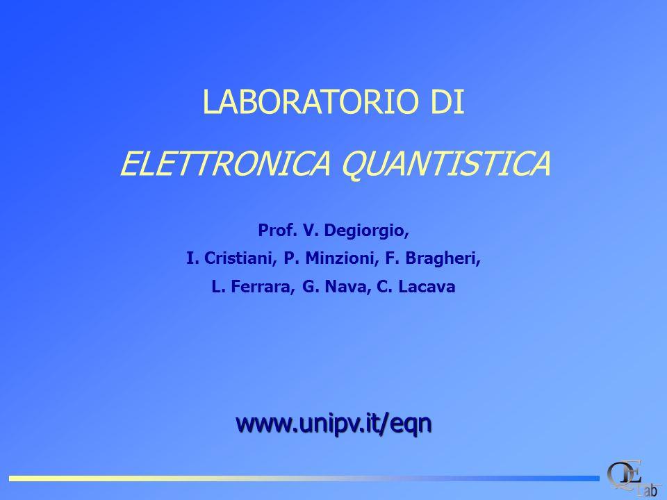 www.unipv.it/eqn LABORATORIO DI ELETTRONICA QUANTISTICA Prof. V. Degiorgio, I. Cristiani, P. Minzioni, F. Bragheri, L. Ferrara, G. Nava, C. Lacava