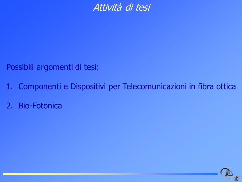 Attività di tesi Possibili argomenti di tesi: 1.Componenti e Dispositivi per Telecomunicazioni in fibra ottica 2.Bio-Fotonica