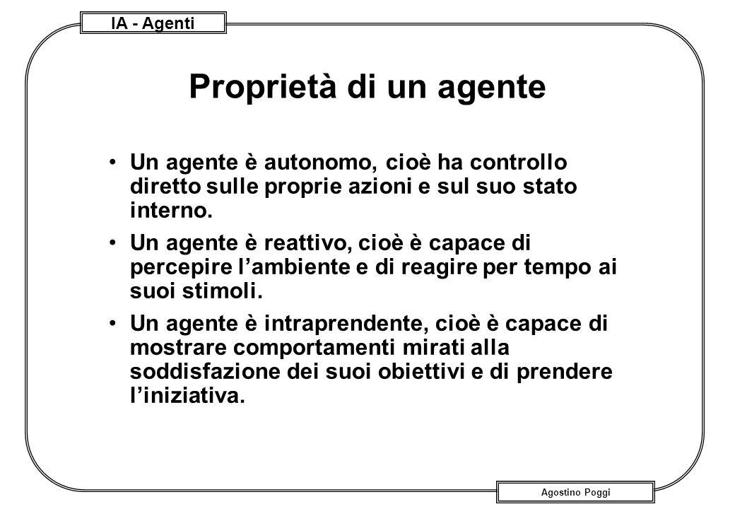 IA - Agenti Agostino Poggi Proprietà di un agente Un agente è autonomo, cioè ha controllo diretto sulle proprie azioni e sul suo stato interno. Un age