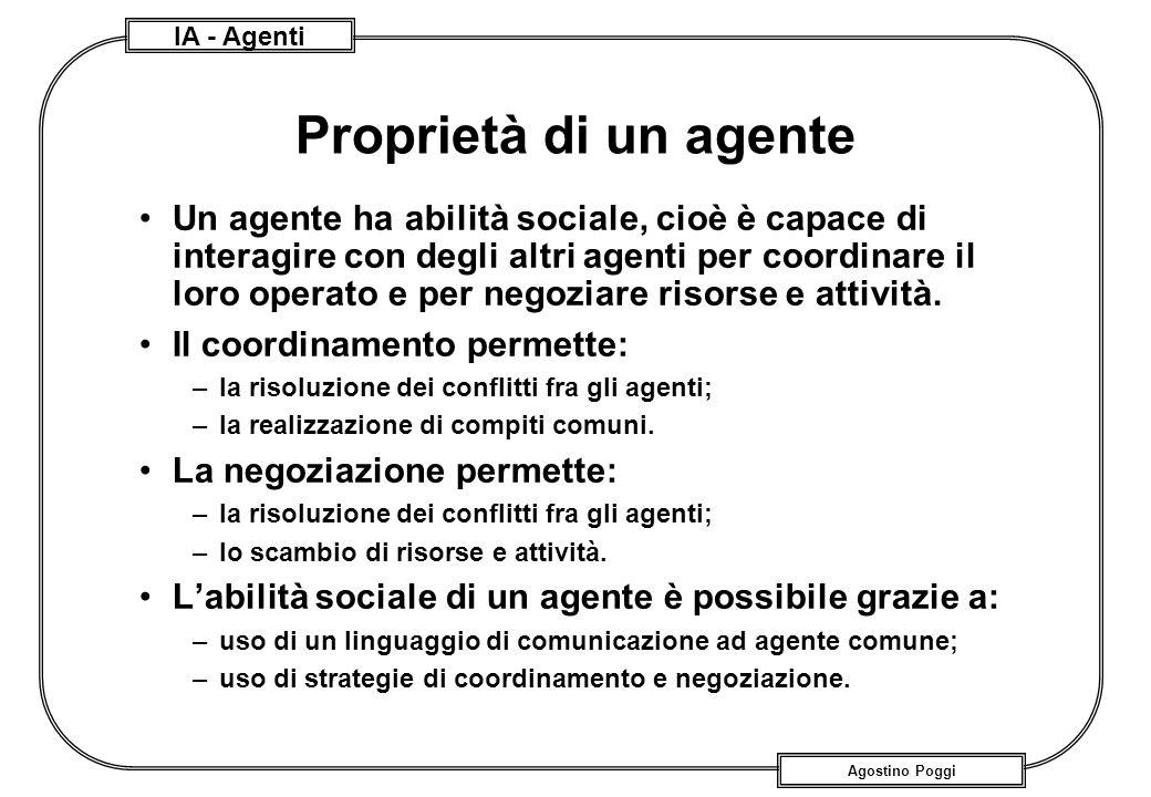 IA - Agenti Agostino Poggi Proprietà di un agente Un agente ha abilità sociale, cioè è capace di interagire con degli altri agenti per coordinare il l