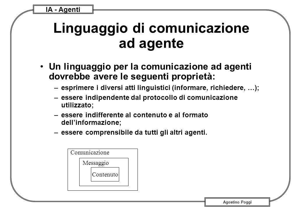 IA - Agenti Agostino Poggi Linguaggio di comunicazione ad agente Un linguaggio per la comunicazione ad agenti dovrebbe avere le seguenti proprietà: –e