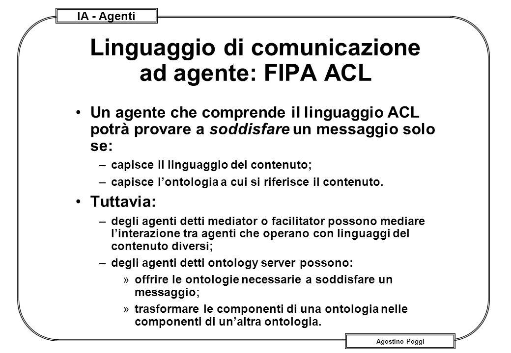 IA - Agenti Agostino Poggi Linguaggio di comunicazione ad agente: FIPA ACL Un agente che comprende il linguaggio ACL potrà provare a soddisfare un mes