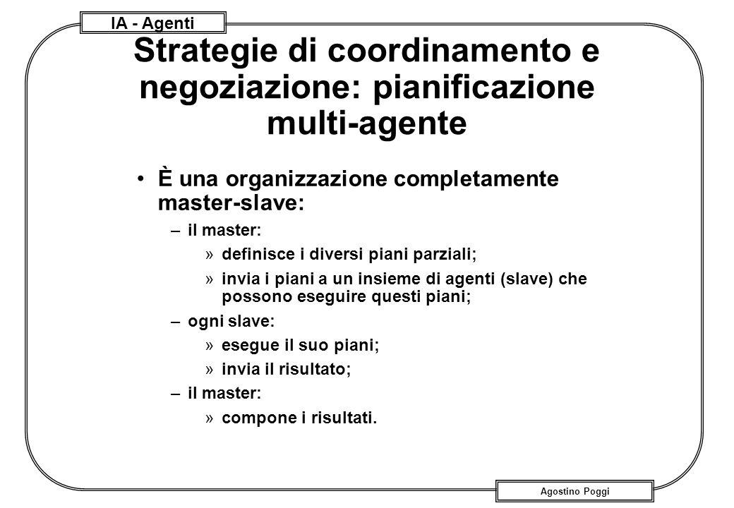 IA - Agenti Agostino Poggi Strategie di coordinamento e negoziazione: pianificazione multi-agente È una organizzazione completamente master-slave: –il
