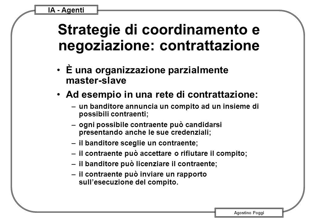 IA - Agenti Agostino Poggi Strategie di coordinamento e negoziazione: contrattazione È una organizzazione parzialmente master-slave Ad esempio in una