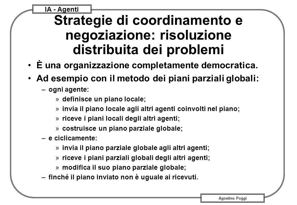 IA - Agenti Agostino Poggi Strategie di coordinamento e negoziazione: risoluzione distribuita dei problemi È una organizzazione completamente democrat