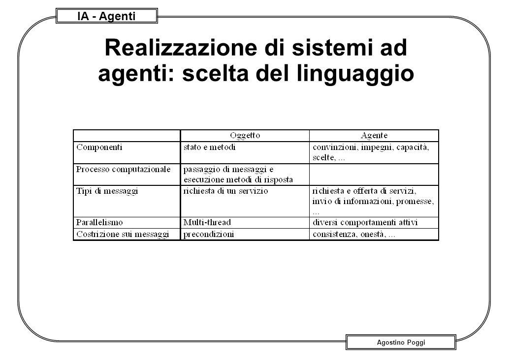IA - Agenti Agostino Poggi Realizzazione di sistemi ad agenti: scelta del linguaggio