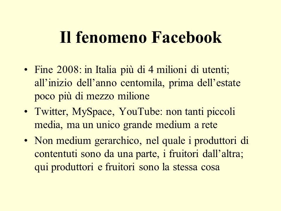 Il fenomeno Facebook Fine 2008: in Italia più di 4 milioni di utenti; allinizio dellanno centomila, prima dellestate poco più di mezzo milione Twitter