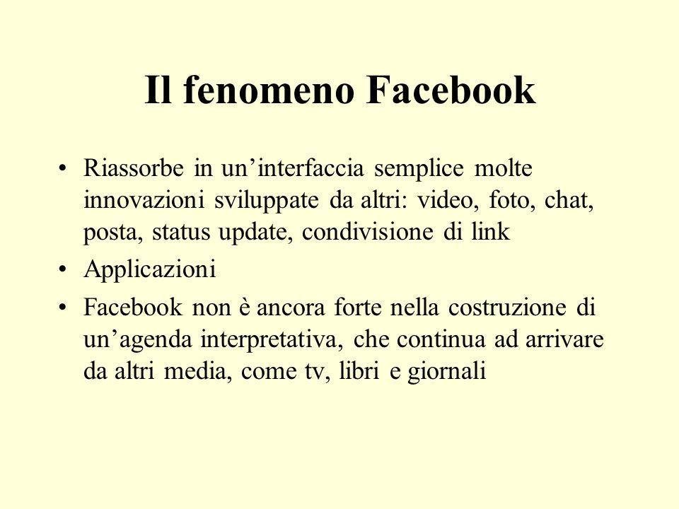Il fenomeno Facebook Riassorbe in uninterfaccia semplice molte innovazioni sviluppate da altri: video, foto, chat, posta, status update, condivisione