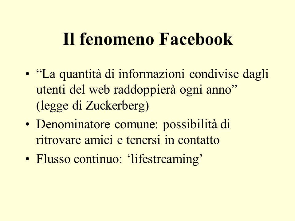 Il fenomeno Facebook La quantità di informazioni condivise dagli utenti del web raddoppierà ogni anno (legge di Zuckerberg) Denominatore comune: possi