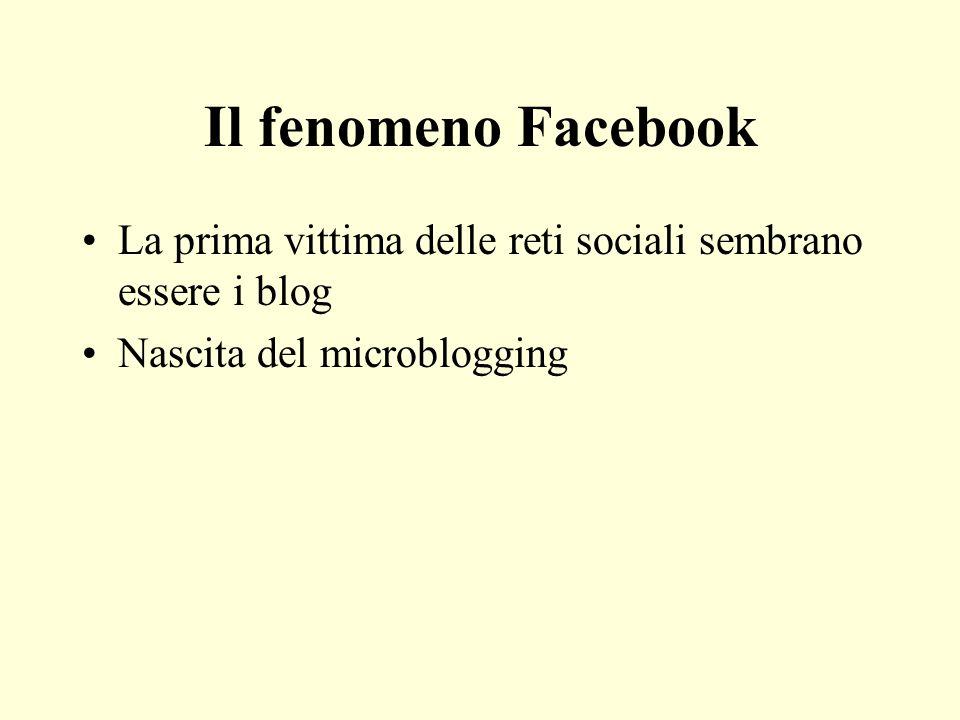 Il fenomeno Facebook La prima vittima delle reti sociali sembrano essere i blog Nascita del microblogging