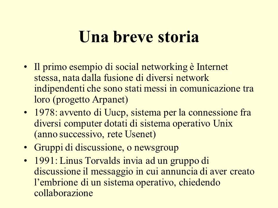 Una breve storia Il primo esempio di social networking è Internet stessa, nata dalla fusione di diversi network indipendenti che sono stati messi in c