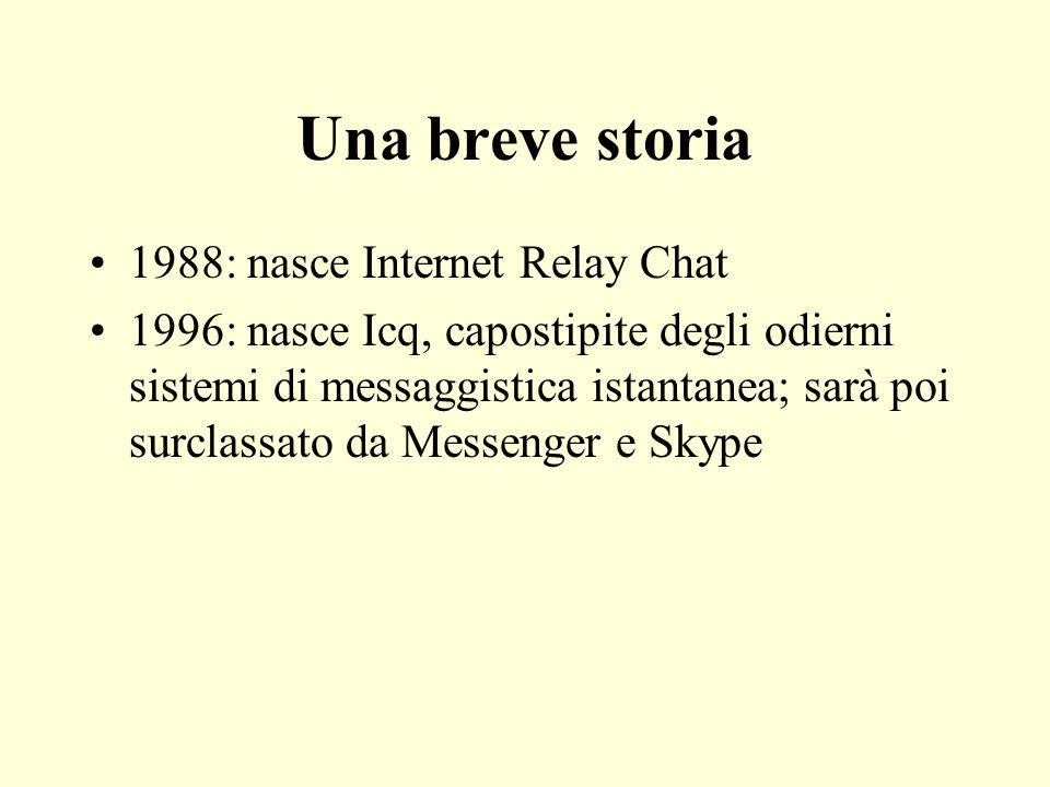 Una breve storia 1988: nasce Internet Relay Chat 1996: nasce Icq, capostipite degli odierni sistemi di messaggistica istantanea; sarà poi surclassato