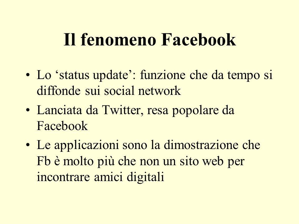 Il fenomeno Facebook Lo status update: funzione che da tempo si diffonde sui social network Lanciata da Twitter, resa popolare da Facebook Le applicaz