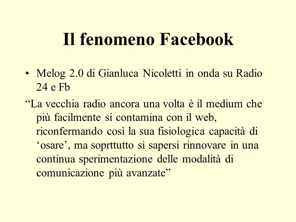 Il fenomeno Facebook Melog 2.0 di Gianluca Nicoletti in onda su Radio 24 e Fb La vecchia radio ancora una volta è il medium che più facilmente si cont