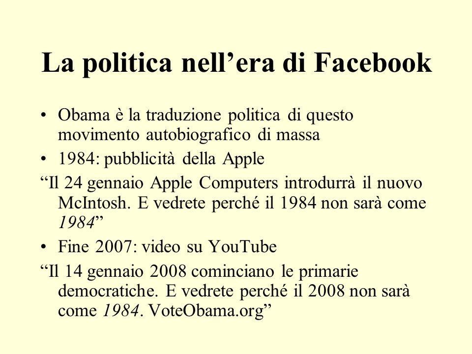 La politica nellera di Facebook Obama è la traduzione politica di questo movimento autobiografico di massa 1984: pubblicità della Apple Il 24 gennaio