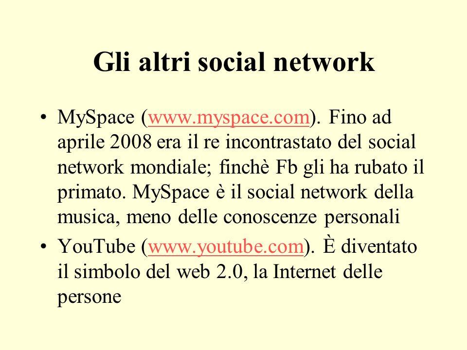 Gli altri social network MySpace (www.myspace.com). Fino ad aprile 2008 era il re incontrastato del social network mondiale; finchè Fb gli ha rubato i
