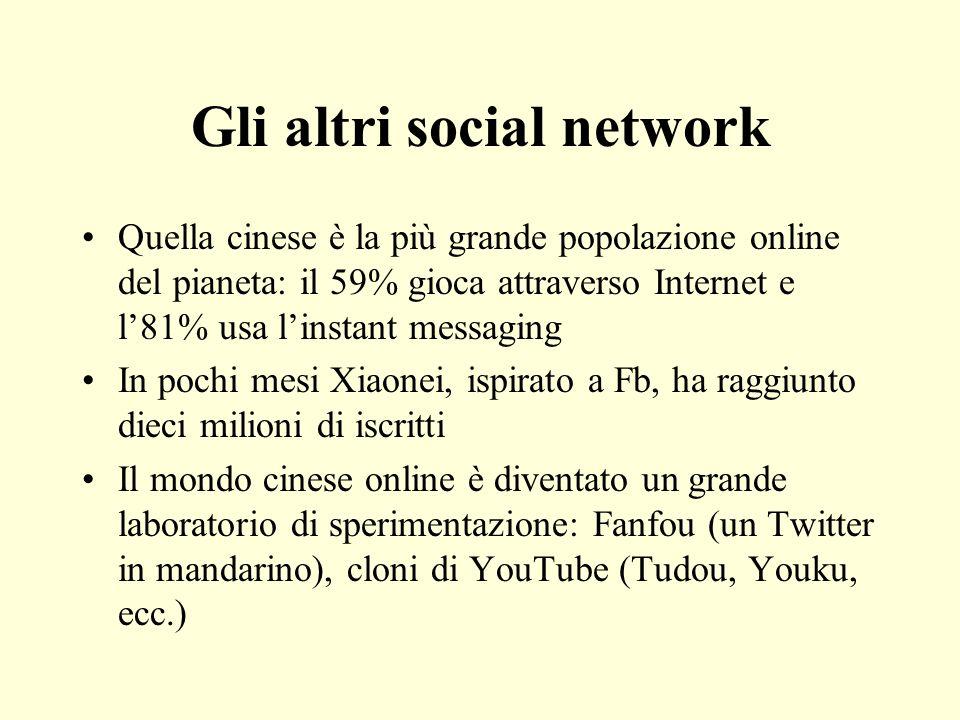Gli altri social network Quella cinese è la più grande popolazione online del pianeta: il 59% gioca attraverso Internet e l81% usa linstant messaging