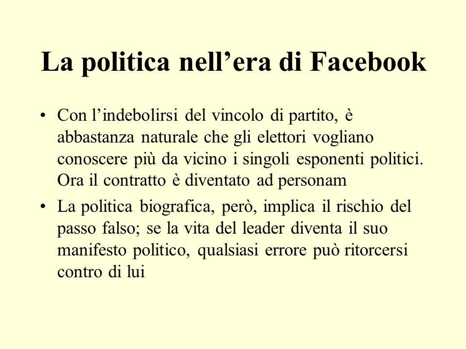 La politica nellera di Facebook Con lindebolirsi del vincolo di partito, è abbastanza naturale che gli elettori vogliano conoscere più da vicino i sin