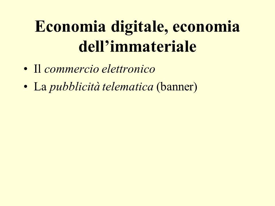 Economia digitale, economia dellimmateriale Il commercio elettronico La pubblicità telematica (banner)