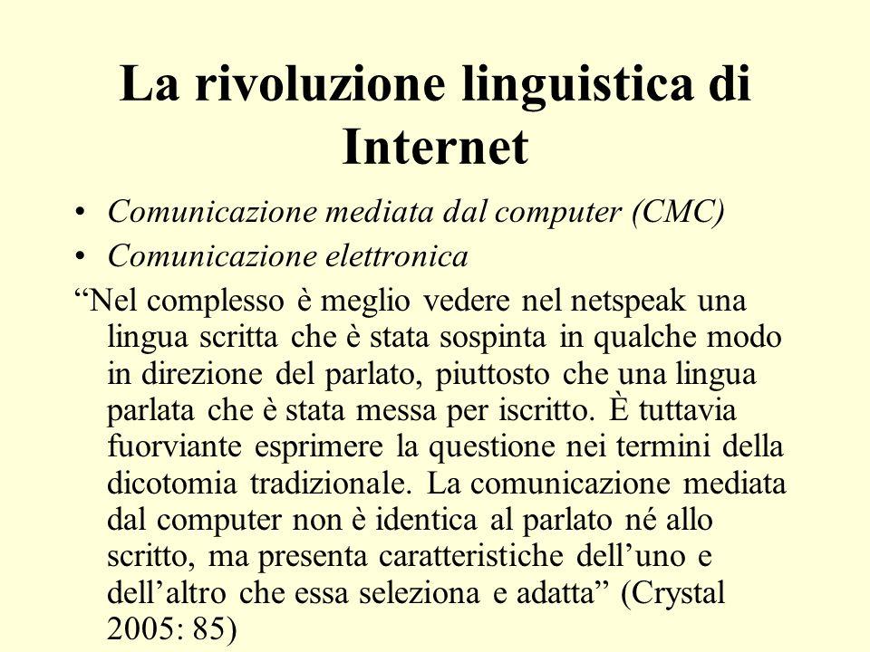 La rivoluzione linguistica di Internet Comunicazione mediata dal computer (CMC) Comunicazione elettronica Nel complesso è meglio vedere nel netspeak u