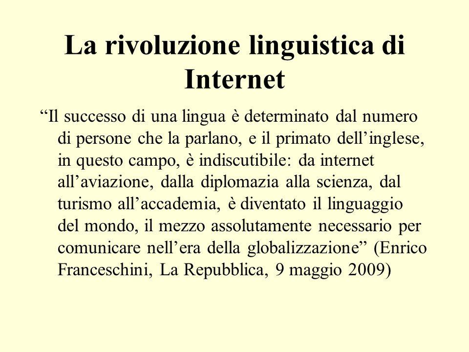 La rivoluzione linguistica di Internet Il successo di una lingua è determinato dal numero di persone che la parlano, e il primato dellinglese, in ques