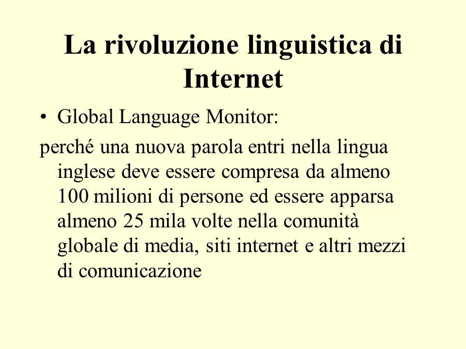 La rivoluzione linguistica di Internet Global Language Monitor: perché una nuova parola entri nella lingua inglese deve essere compresa da almeno 100