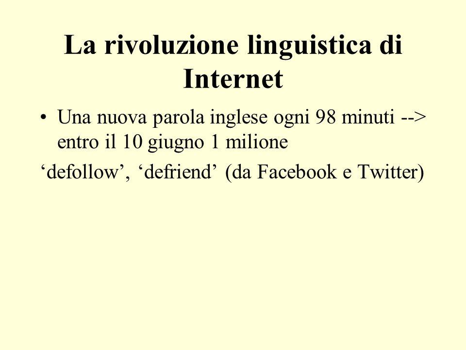 La rivoluzione linguistica di Internet Una nuova parola inglese ogni 98 minuti --> entro il 10 giugno 1 milione defollow, defriend (da Facebook e Twit