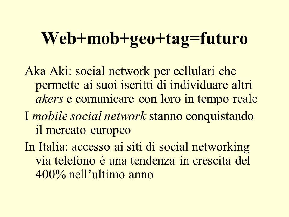Web+mob+geo+tag=futuro Aka Aki: social network per cellulari che permette ai suoi iscritti di individuare altri akers e comunicare con loro in tempo r