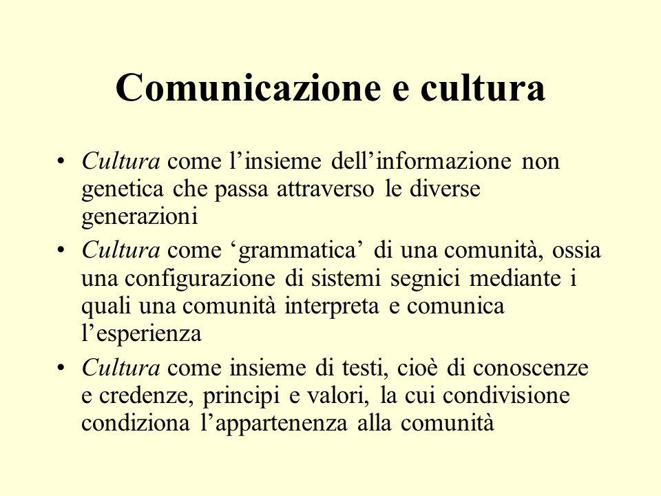 Comunicazione e cultura Cultura come linsieme dellinformazione non genetica che passa attraverso le diverse generazioni Cultura come grammatica di una