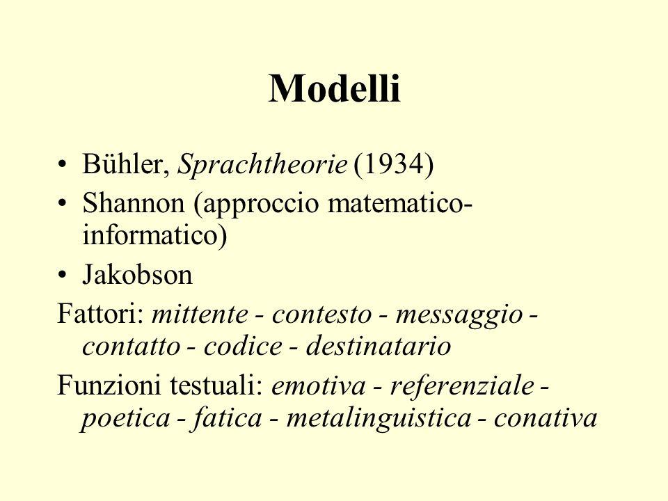 Modelli Bühler, Sprachtheorie (1934) Shannon (approccio matematico- informatico) Jakobson Fattori: mittente - contesto - messaggio - contatto - codice