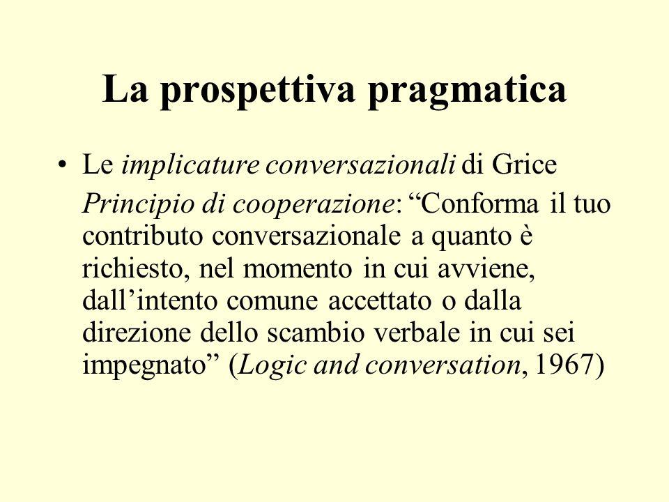 La prospettiva pragmatica Le implicature conversazionali di Grice Principio di cooperazione: Conforma il tuo contributo conversazionale a quanto è ric