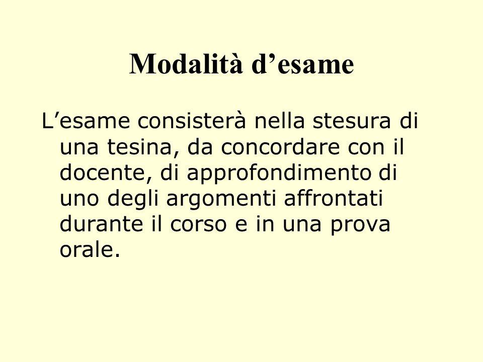 Modalità desame Lesame consisterà nella stesura di una tesina, da concordare con il docente, di approfondimento di uno degli argomenti affrontati dura
