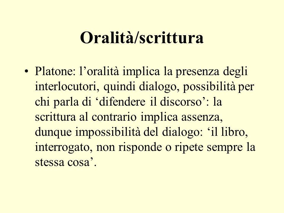 Oralità Paratattica piuttosto che ipotattica Aggregativa piuttosto che analitica Ridondante piuttosto che economica Enfatica e partecipativa piuttosto che oggettiva e distaccata Walter Ong (1982), Oralità e scrittura.