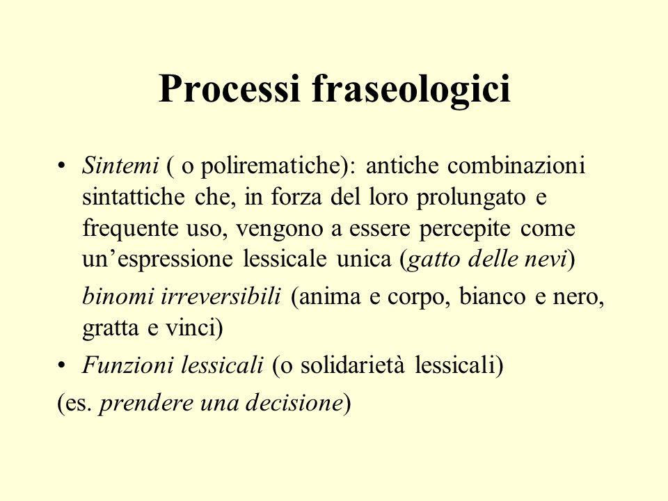 Processi fraseologici Sintemi ( o polirematiche): antiche combinazioni sintattiche che, in forza del loro prolungato e frequente uso, vengono a essere