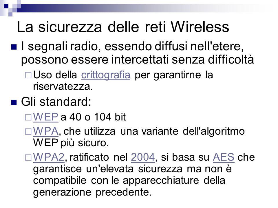 La sicurezza delle reti Wireless I segnali radio, essendo diffusi nell'etere, possono essere intercettati senza difficoltà Uso della crittografia per