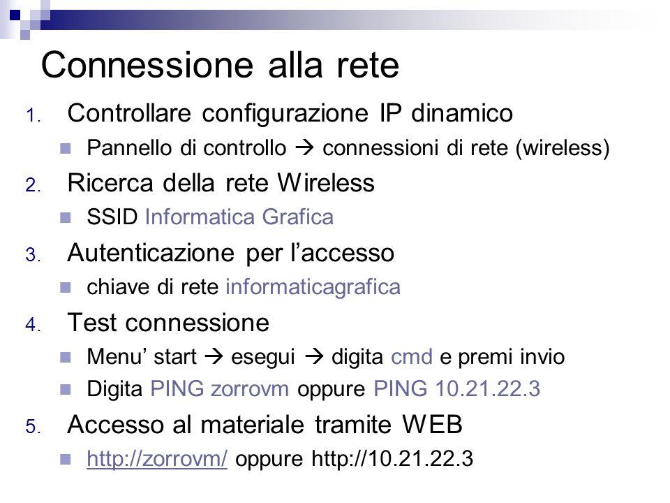 Connessione alla rete 1. Controllare configurazione IP dinamico Pannello di controllo connessioni di rete (wireless) 2. Ricerca della rete Wireless SS