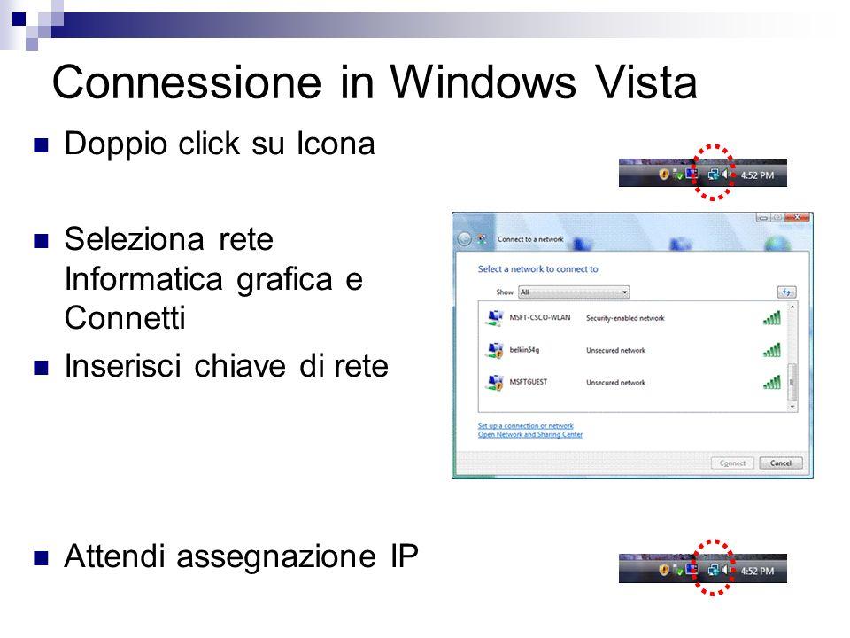 Connessione in Windows Vista Doppio click su Icona Seleziona rete Informatica grafica e Connetti Inserisci chiave di rete Attendi assegnazione IP