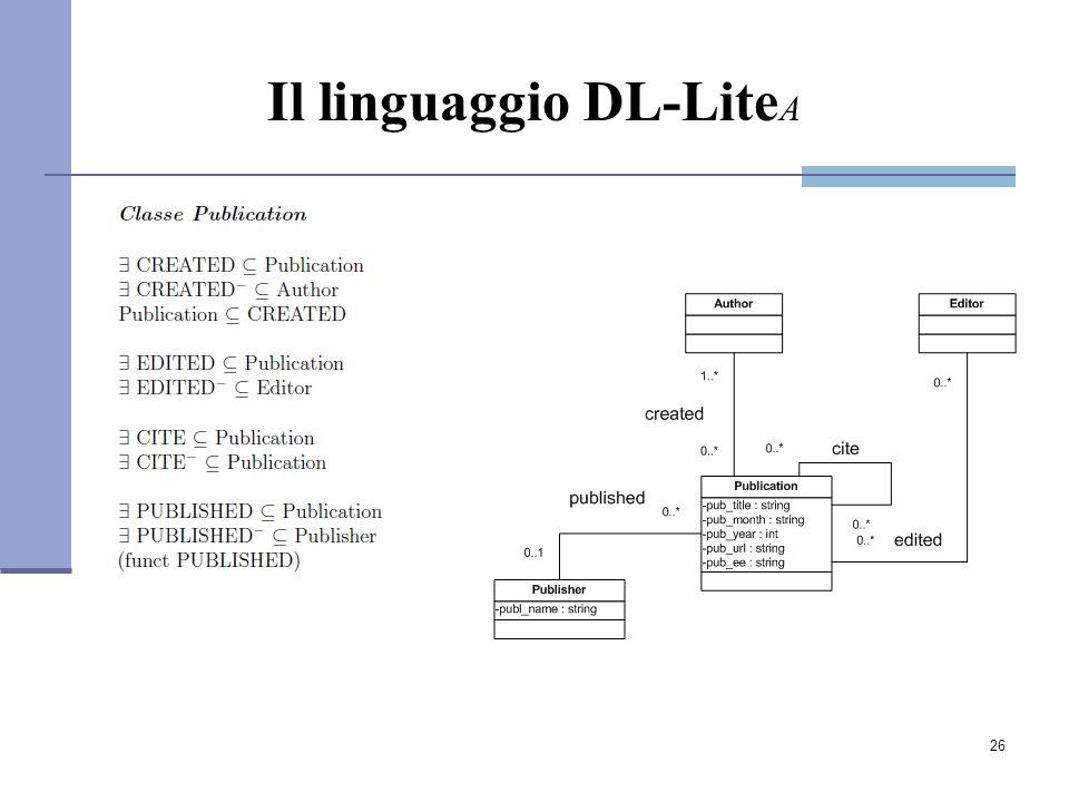 26 Il linguaggio DL-Lite A