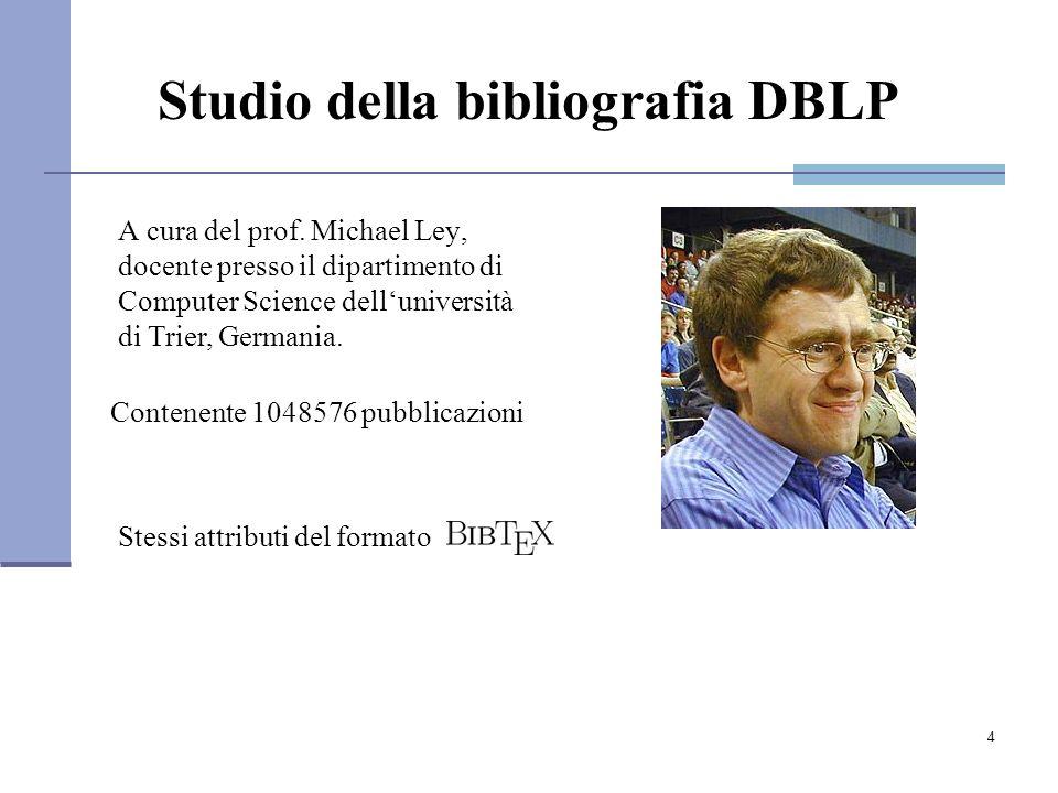 5 DBLP: Numero dei record bibliografici Studio della bibliografia DBLP